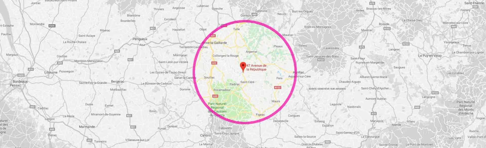 Zone d'intervnetion - Entreprise pompes funèbres le Lot (46)